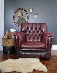 vintage OXBLOOD LEATHER chesterfield ARMCHAIR suit RETRO INDUSTRIAL cigar lounge
