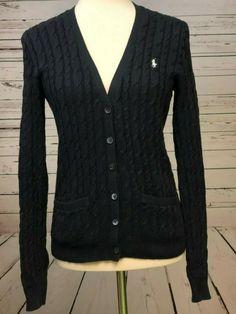 Details about MATTY M Women s Medium Navy Blue Long Sleeve Cable Knit Open  Cardigan 870 3ce7b5b49