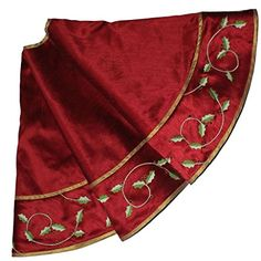 SORRENTO Linen Slub Look Fabric and Embroidery Holly Leaves style Red Christmas Tree Skirt Size 4950 ** Check out this great product.