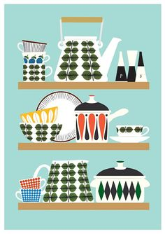 Scandinavian  Kitchen print Stig Lindberg Bersa Mid par handz, $21.00