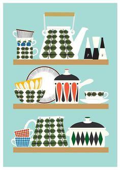 Retro kitchen print Art for kitchen Kitchenware print by handz