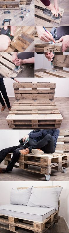 Create Simple Pallet Wood Projects To Enhance Your Home's Interior Decor Pallet Ideas, Pallet Designs, Pallet Projects, Home Projects, Pallet Sofa, Diy Pallet Furniture, Furniture Ideas, Wood Furniture, Pallet Bank