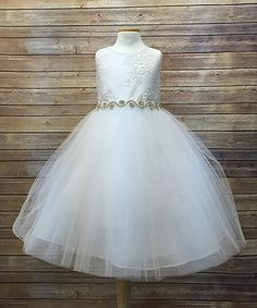 This White Rhinestone A-Line Dress - Girls is perfect! #zulilyfinds