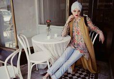 hijab house floral concealed shirt boyfriend jeans long cardigan