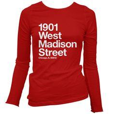 Women's Chicago Basketball and Hockey Stadium Long Sleeve Tee - LS Ladies T-shirt - S M L XL 2x - Chicago Shirt Sports - 4 Colors