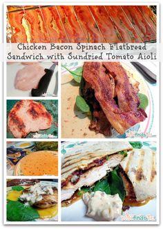 Chicken Bacon Spinach Flatbread Sandwich with Sun-dried Tomato Aioli Sandwich Recipe