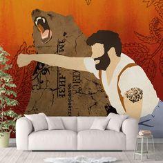 Bear Lumberjack Peel and Stick Wallpaper Trending Orange Brown Sharp Shirter - Canvas Wall Decal / 1 roll: 24W x 72H