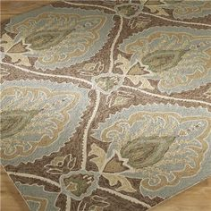 Attractive traditional designs in Mocha and Sea Mist have the added benefit of being used indoors or outdoors under covered areas. Finished in poly plush and loop. Hooked stitch gives organic designs texture and punch. (Hot House Flowers in Mineral?)
