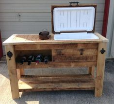 Woodworking Joinery Table Saw Reclaimed Barnwood Bar Cart Cooler Cabinet Wine Bar Console Pallet Cooler, Wood Cooler, Patio Cooler, Diy Cooler, Outdoor Cooler, Awesome Woodworking Ideas, Woodworking Joints, Woodworking Workbench, Woodworking Furniture