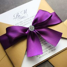 Romantic purple wedding invitations                              …