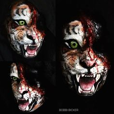 Day13 of my #31daysofhalloween #tiger #woundedtiger  #illusion  #sfx #sfxmakeup #wildanimals  #scary  #halloween #halloweenmakeup #halloweenmakeupideas #amazing #beautiful  #facepainting #bodypainting #artist #bobbibicker #london