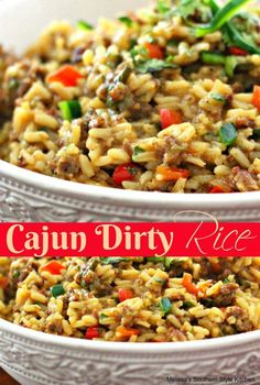 Cajun Dirty Rice- use Jimmy Deans spicy sausage. Omit Cajun season unless you are really seeking heat. Sausage Recipes, Beef Recipes, Cooking Recipes, Gumbo Recipes, Spicy Sausage, Cooking Ideas, Seafood Recipes, Food Ideas, Cajun Dishes