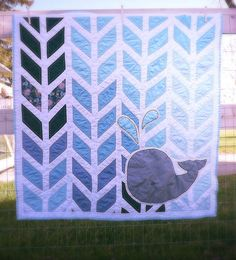MADE TO ORDER Baby Whale Quilt Navy Blue Nautical by PieBirdQuilts