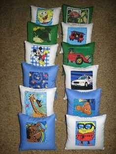 Some boys tooth fairy pillows I created in the past.-created by Lisa Bruce