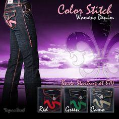 LBJC Women's Colored Stitch Denim - www.shoplbjc.com