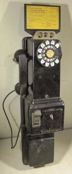 Vintage 1940's 1950's 3 Slot Coin Payphone Western Electric Complete Telephone