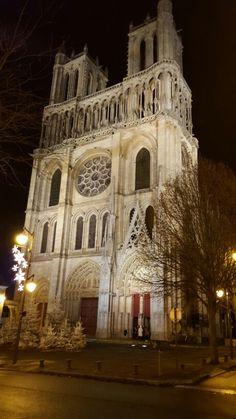 Photo de nuit - Collegiale Notre Dame de Mantes-La-Jolie - Mantes-La-Jolie - Mantois - Yvelines - Ile de France - France