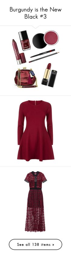"""""""Burgundy is the New Black #3"""" by emma-oloughlin ❤ liked on Polyvore featuring beauty products, makeup, sexy makeup, burgundy makeup, dresses, red fit and flare dress, burgundy long sleeve dress, long sleeve fit and flare dress, red long sleeve dress and red knit dress"""