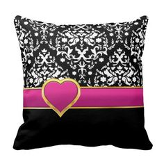 Black white damask with hot pink band and heart pillow #PinkAndBlackObsession