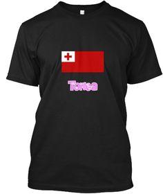 Tonga Flag Pink Flower Design Black T-Shirt Front - This is the perfect gift for someone who loves Tonga. Thank you for visiting my page (Related terms: I Heart Tonga,Tonga,Tongan,Tonga Travel,I Love My Country,Tonga Flag, Tonga Map,Tonga Language, Tong #Tonga, #Tongashirts...)