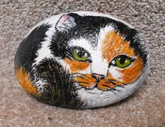 PAINTED CALICO CAT STONE (adore62) Tags: rock stone cat painted calico rockpainting