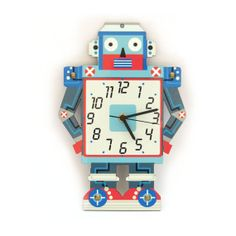 "Robot Wall Clock, Nursery Blue and Red Wood Decoration - ""Silver"" Model on Etsy, $39.95"