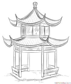 How to draw how the Chinese Pagoda step by step. Drawing tutorials for kids and…