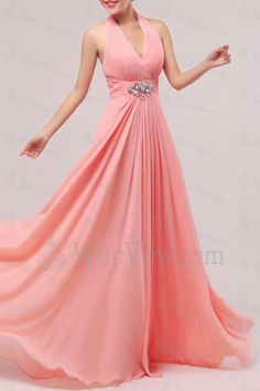 Chiffon Halter Floor Length Empire Prom Dress with Crystal [2514] - $399.00 : Wedding Dresses