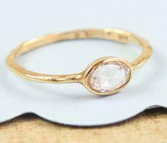 White Rose Cut Diamond Ring  Engagement Ring 14K von Tulajewelry, $1100.00