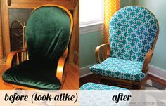 before + after: DIY slipcovered glider rocker chair + ottoman for baby nursery [from paperandstitch. Ottoman Slipcover, Chair And Ottoman, Slipcovers, Glider Rocker Chair, Glider Cushions, Camo Furniture, Furniture Redo, Diy Cushion Covers, Camo Baby Stuff