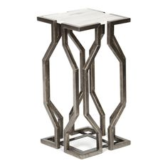 Knox and Harrison Open Geometric Form Accent Table - Antique Pewter - GO0068F