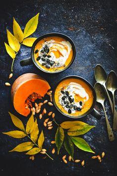 Sweet Gula: Sopa de Abóbora, Gengibre e Coco Tostadas, Roast Pumpkin Soup, Gula, Food Photography, Plates, Warm, Tableware, Sweet, Weather