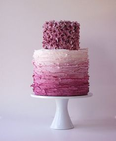 Purple Cake with Floral Top Tier and Ombre Frills on Bottom Tier