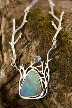 Necklace | Naomi Assenheim ~ Grey Wing Creations. Black opal, fire opal, australian opal, moonstone, 18kt yellow gold, sterling silver