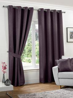 Neva Ready Made Blackout Eyelet Curtains - Aubergine