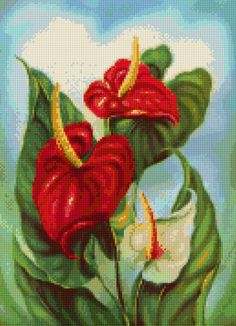 1950s Hawaiian Anthirium Mid Century Cross Stitch pattern PDF - Instant Download! by PenumbraCharts on Etsy