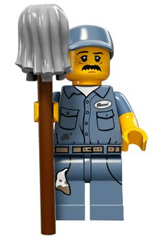 LEGO 71011 Collection Series 15 Mini-figures: Janitor (New in Opened bag) 673419249423 Lego City, Lego Minifigure, Lego Dc Comics, Figurine Lego, Lego Costume, Lego Girls, Lego People, Lego System, Lego Toys
