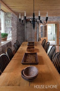 Table fit for a family - Love the bowls - Photo Gallery: Farmhouse Style   House & Home