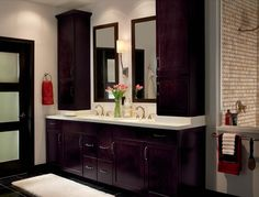 This Bathroom Is Warmed Up With the Espresso Double Vanity That Adds a Nice Contemporary Flair To This Space. Bathroom Cabinetry, Bath Cabinets, Bathroom Renovations, Bathroom Renos, Kitchen Cabinets, Bad Inspiration, Bathroom Inspiration, Bathroom Ideas, Bath Ideas