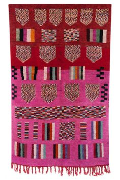 Such a fun vintage Moroccan Carpet. Love that pink!  Great Moroccan design and Moroccan style in this Moroccan rug.