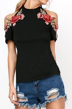 $11.53 Flower Embroideried Cold Shoulder Halter T-Shirt - Black