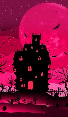 Halloween in Fuchsia Witchy Wallpaper, Halloween Wallpaper Iphone, Holiday Wallpaper, Fall Wallpaper, Halloween Backgrounds, Mobile Wallpaper, Screen Wallpaper, Pink Halloween, Halloween Painting