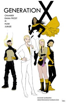 melovecomics: - GENERATION X -I would totally resurrect that title. These characters had such a good dynamic especially in the first year of episodes, I think they could still work today, each one of them have evolved so much, it would be fun to see them reunite.The reason for their gathering would simply be that the school team would have no telepath to operate Cerebro, so they would need Emma to travel around the world and try and recruit the mutants survivor.She would ask her former…