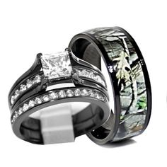 Camo His And Hers Personalized Wedding Ring Set Camo wedding rings