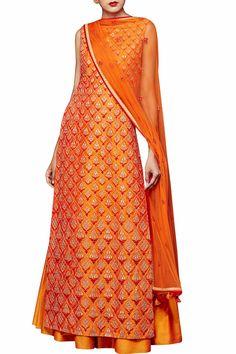 Orange silk suit with sharara by Anita Dongre