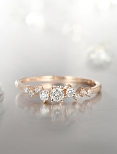 101074b974fd Diamant-Cluster-Ring Zweig Engagement Ring Rose Gold Mini