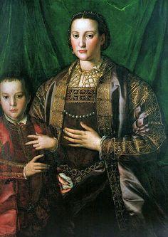 Angnolo Bronzino, Agnolo di Cosimo, (Italian Mannerist artist, 1503-1572) Eleonora di Toledo with her son Francesco