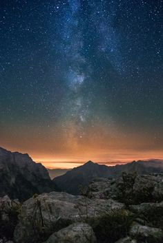Everytime I see the milky way in the mountains, hearing just the silence and the wind, I become aware of our endless journey of life. Milky Way, Slovenia, Mother Nature, Northern Lights, Places To Go, Beautiful Places, Journey, Clouds, Sky