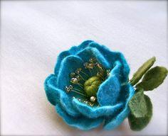 Handmade Felt  Brooch  Felted Flower brooch    Wool by jurooma