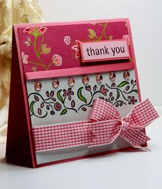Thank You Card - Greeting Card - Handmade Card  -  Stampin Up - OOAK. $3.75, via Etsy.